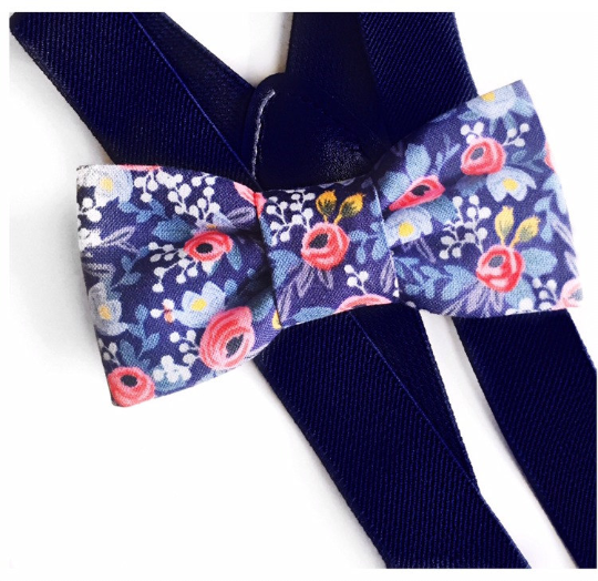 navy and pink floral bow tie/suspender set