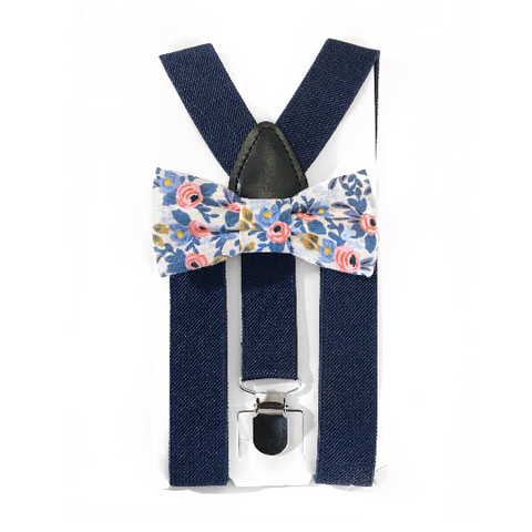 navy light and pink floral bow tie/suspender set