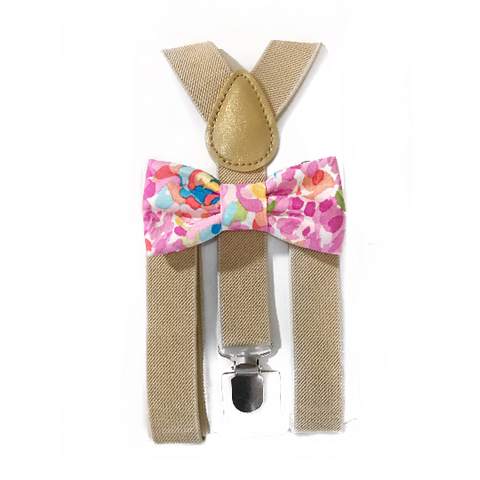 pink watercolor floral bow tie/suspender set