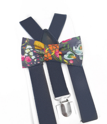 grey floral bow tie/suspender set