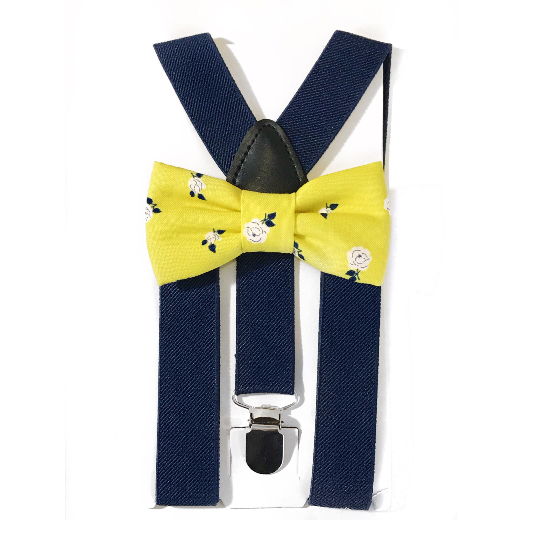 yellow floral bow tie/suspender set