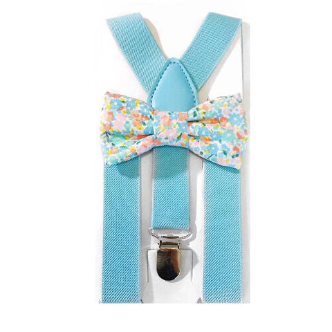 blue light floral bow tie/suspender set