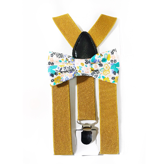 teal and mustard floral bow tie/suspender set