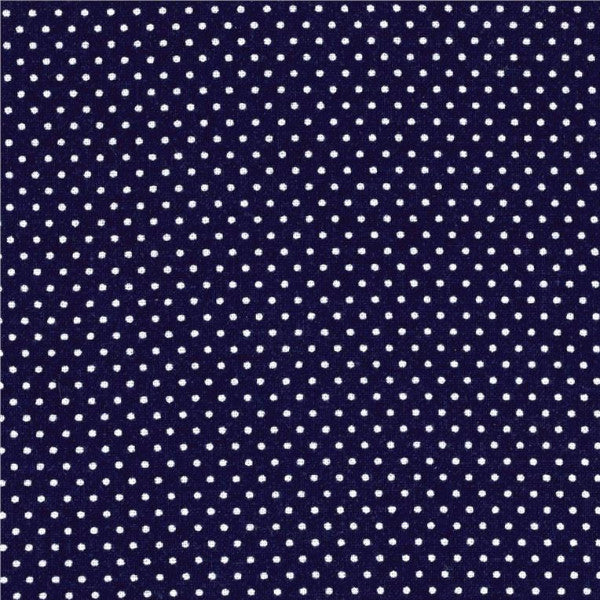 navy blue and white pin dot