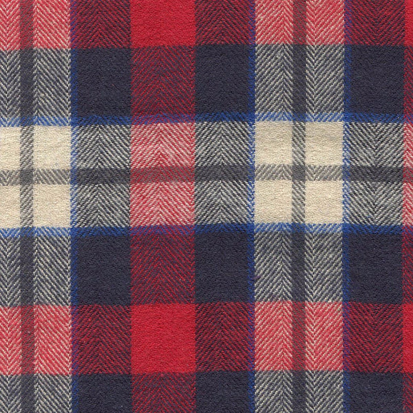navy blue and red flannel plaid