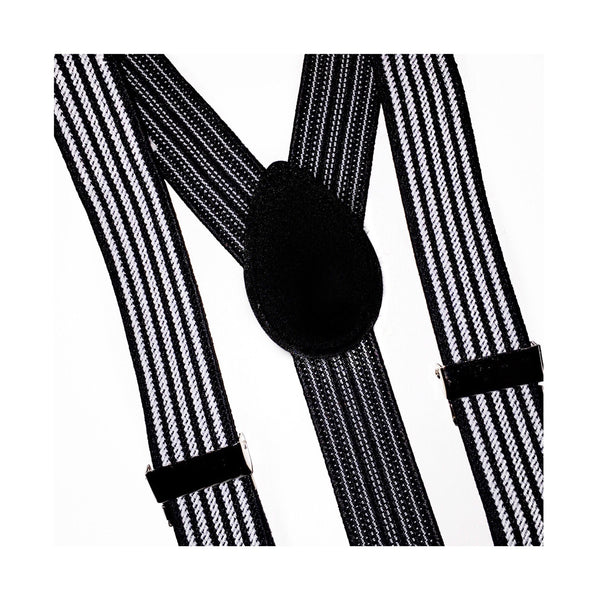 black and white striped suspender