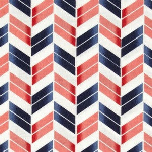 coral and navy herringbone