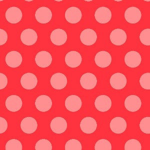 coral and pink polka dot