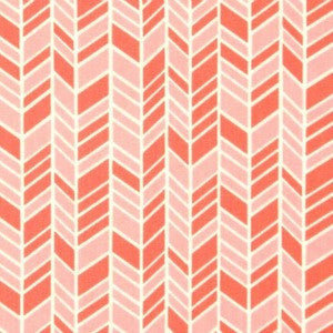 coral and blush herringbone