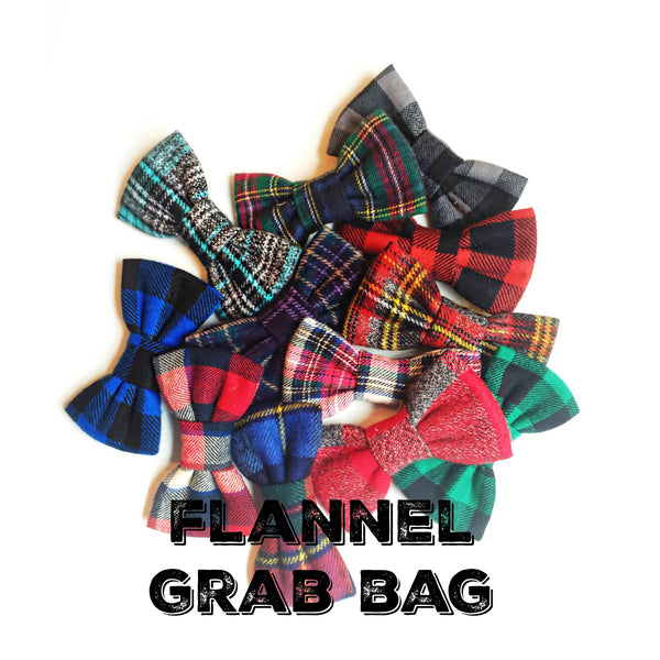 grab bag of [10] FLANNEL child bows/bow ties