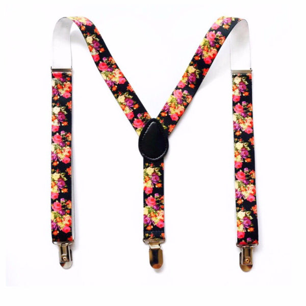 black floral suspender