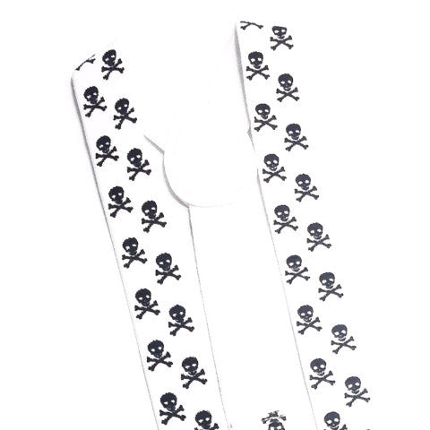 white and black skull suspender