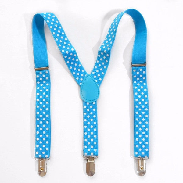 sky blue polka dot suspender