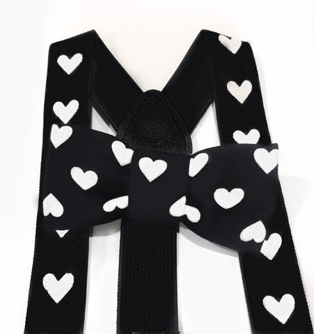 black and white heart bow tie/suspender set