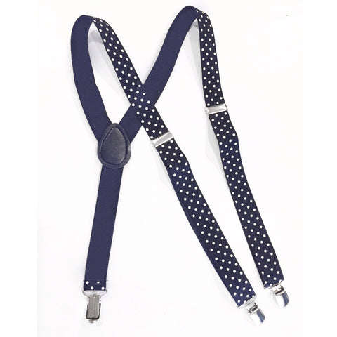 blue navy polka dot suspender