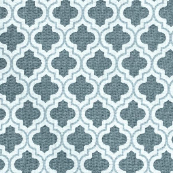 grey and white quatrefoil