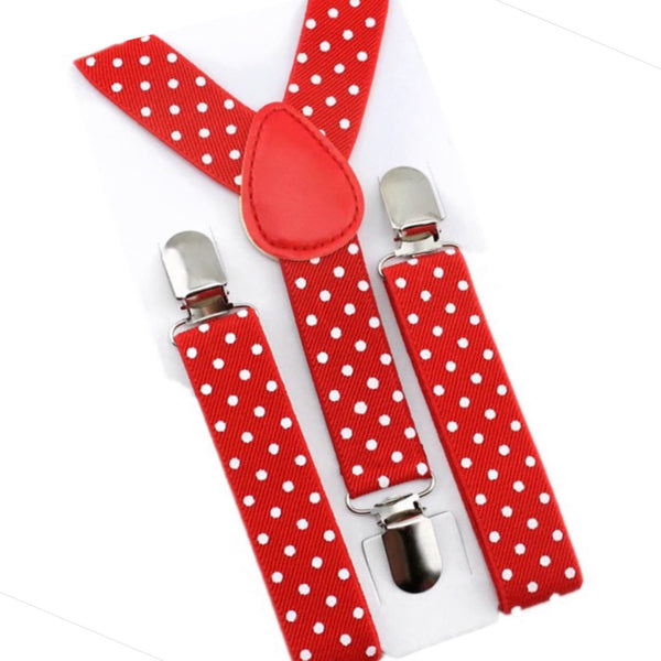 red and white polka dot suspender