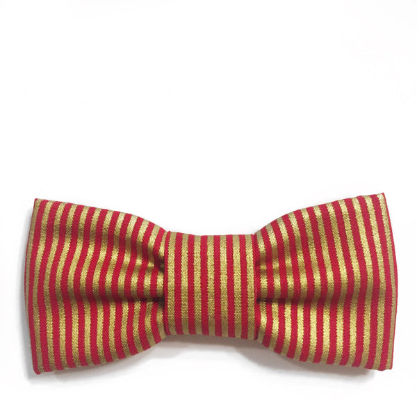 red and metallic gold stripe