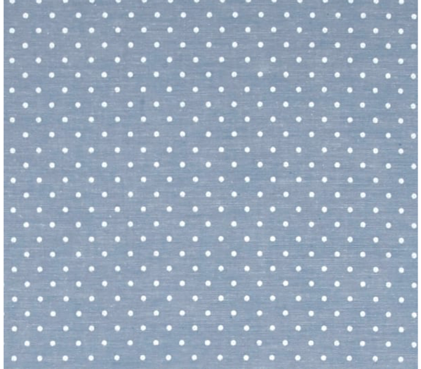 blue light chambray polka dot