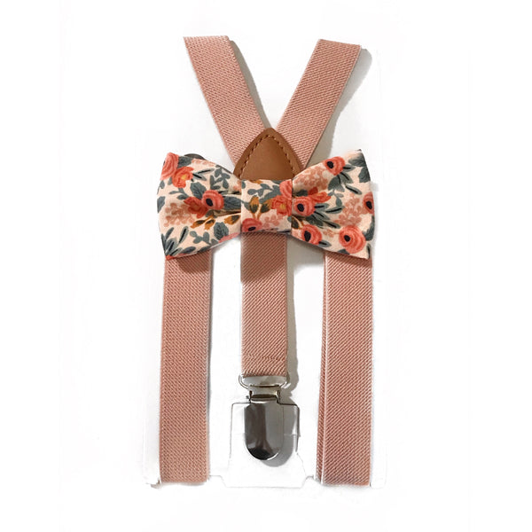pink blush floral bow tie/suspender set