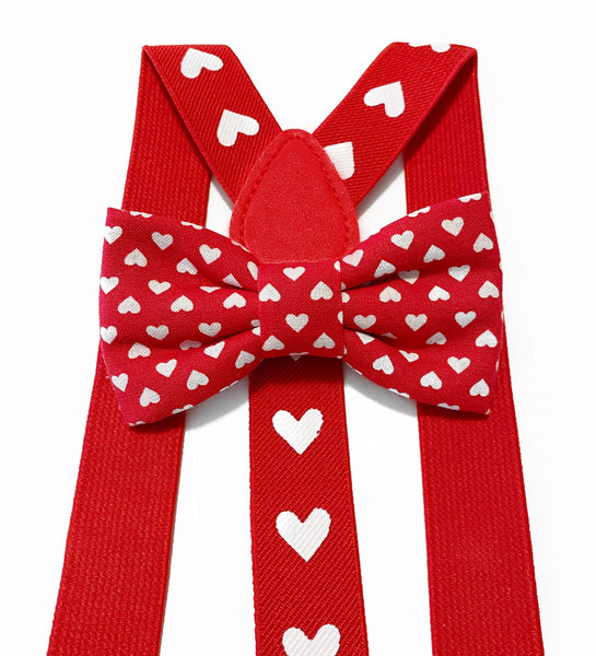 red and white heart bow tie/suspender SET