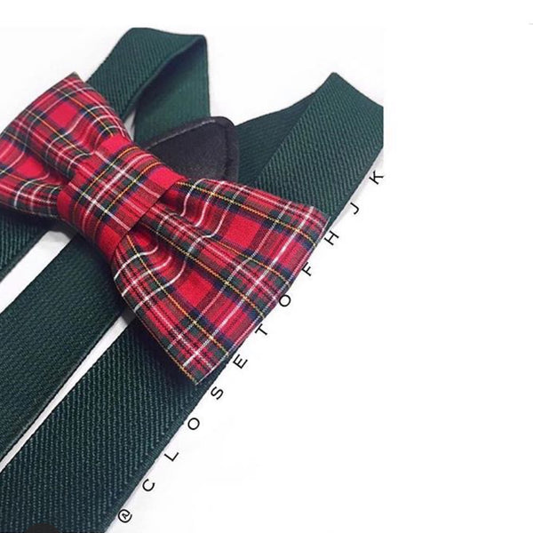 red christmas plaid bow tie/suspender set