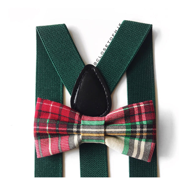 burgundy & hunter christmas plaid bow tie/suspender set