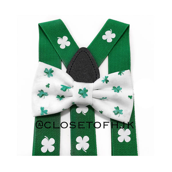 white and green shamrock bow tie/suspender set