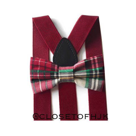burgundy christmas plaid bow tie/suspender set
