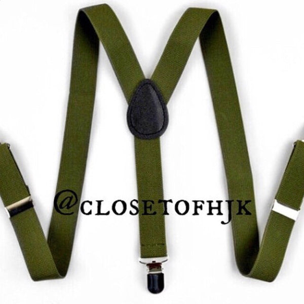 green olive suspenders
