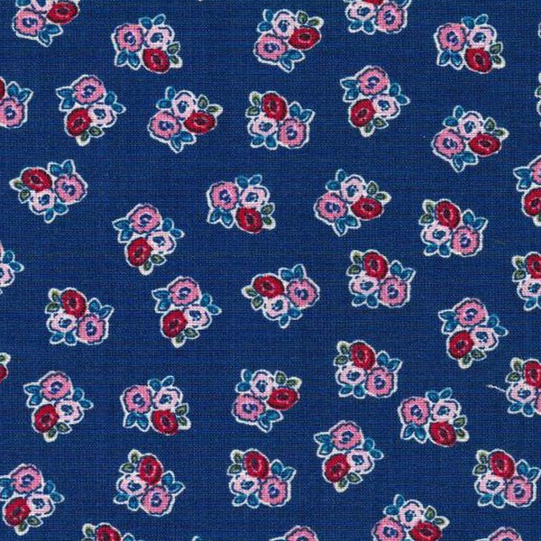 navy pink red floral