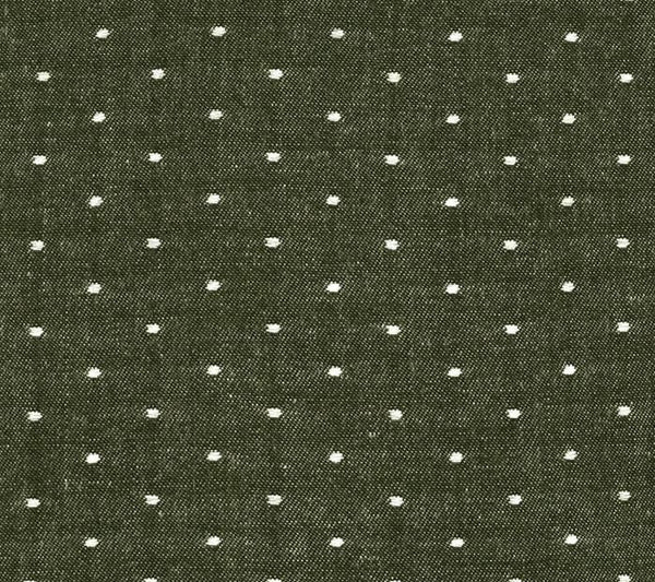 green olive chambray polka dot