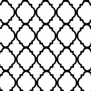 white and black quatrefoil
