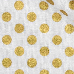 white and gold metallic polka dot