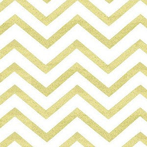white and gold metallic chevron