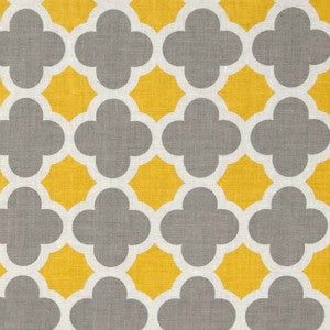 grey and yellow quatrefoil