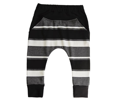 Gray and Black Stripe Harem Pants