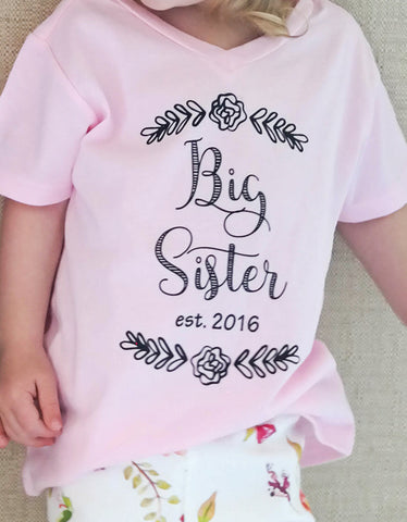 Big Sister Announcement Tee- Pink