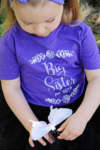 Big Sister Announcement Tee- Purple