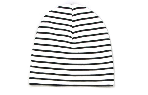 White and Black Striped Beanie