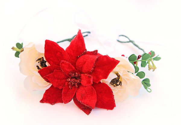 Poinsettia Holiday Crown