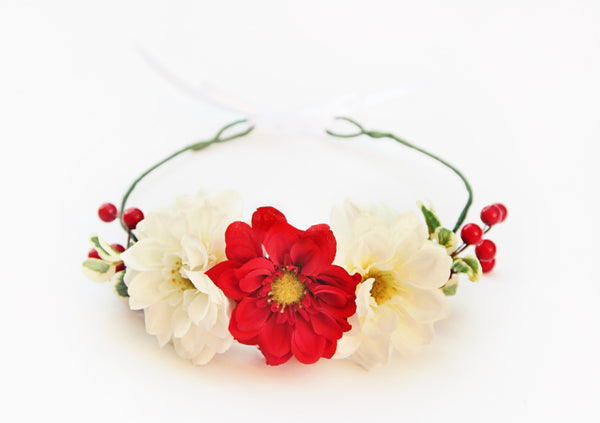 Red + White Berry Holiday Crown