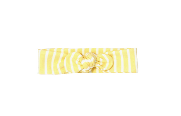 Yellow and White Striped Knotted Head Wrap