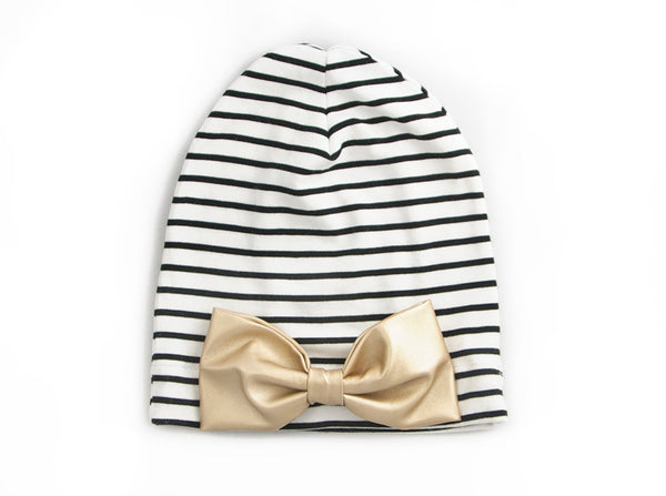 White and Black Striped Gold Bow Slouch Beanie