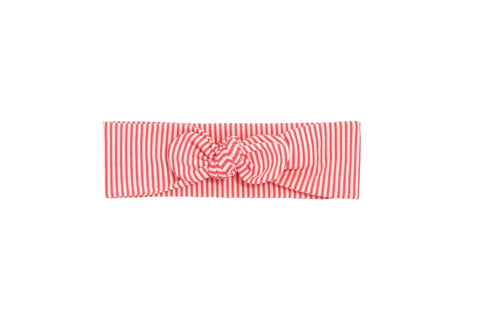Coral and White Striped Knotted Head Wrap