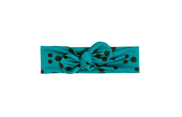 Baby Turban Headband, Baby Head Wrap, Toddler Turban, Infant Turban, Knot Headband, Teal and Black Polka Dot, Polka Dot