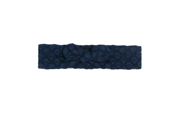 Navy Baby Head Wrap, Top Knot, Baby Knot Headband, Boho Headband, Turban Headband, Navy Polka Dot Lace Headwrap