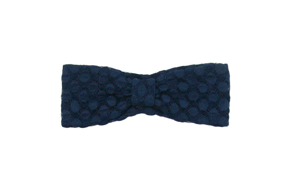Navy Polka Dot Lace Turban
