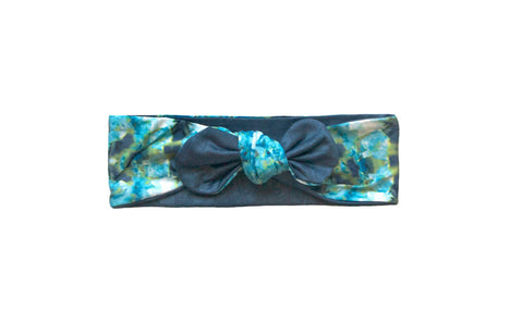 Azul Watercolor Knotted Head Wrap