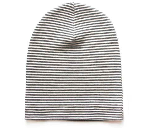 Gray and White Striped Beanie